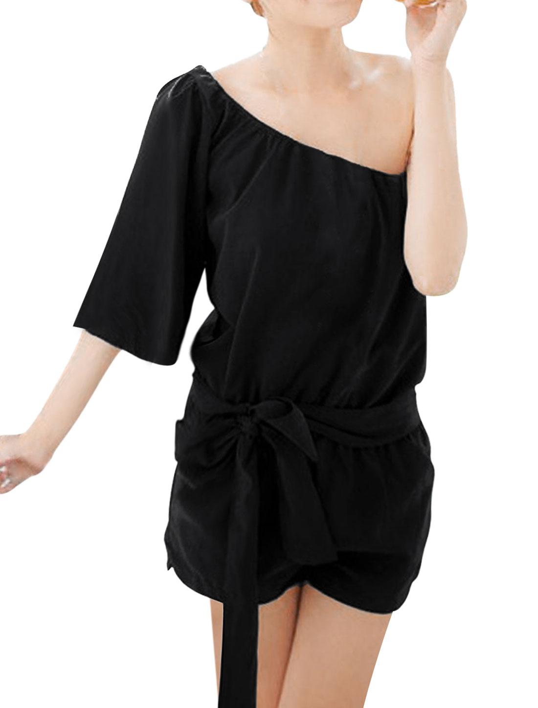 Women Black One Shoulder 3/4 Sleeve Romper Short Jumpsuit XS