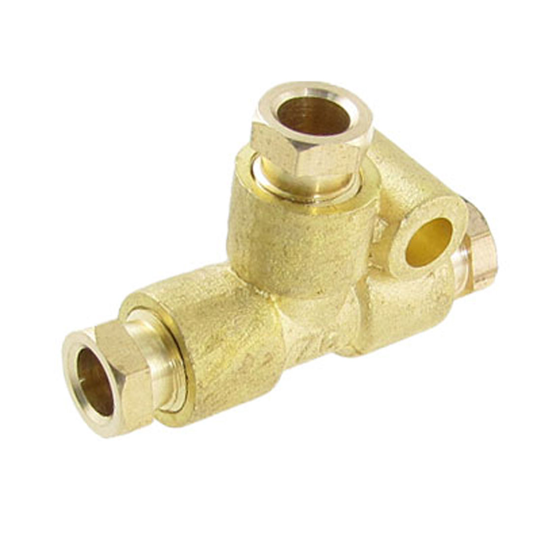 "6mm 15/64"" Brass Ferrule Compression Equal Tee Connector Gold Tone"