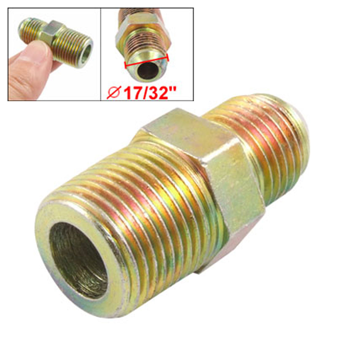 "9/25"" Flare Tube x 5/8"" Pipe Thread Straight Hydraulic Adapter Fitting Half Union"
