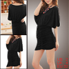 Women Scoop Neck Batwing Sleeves Ruched Mini Dress Black XS