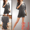 Women Scoop Neck Batwing Sleeves Ruched Mini Dress Gray XS