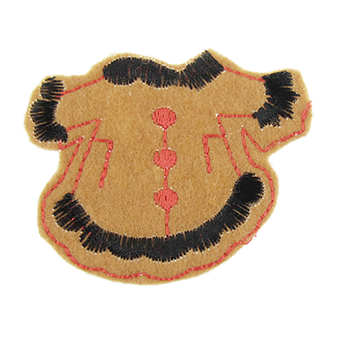 Brown Clothes Shaped Design DIY Embroidery Fabric Applique Patch