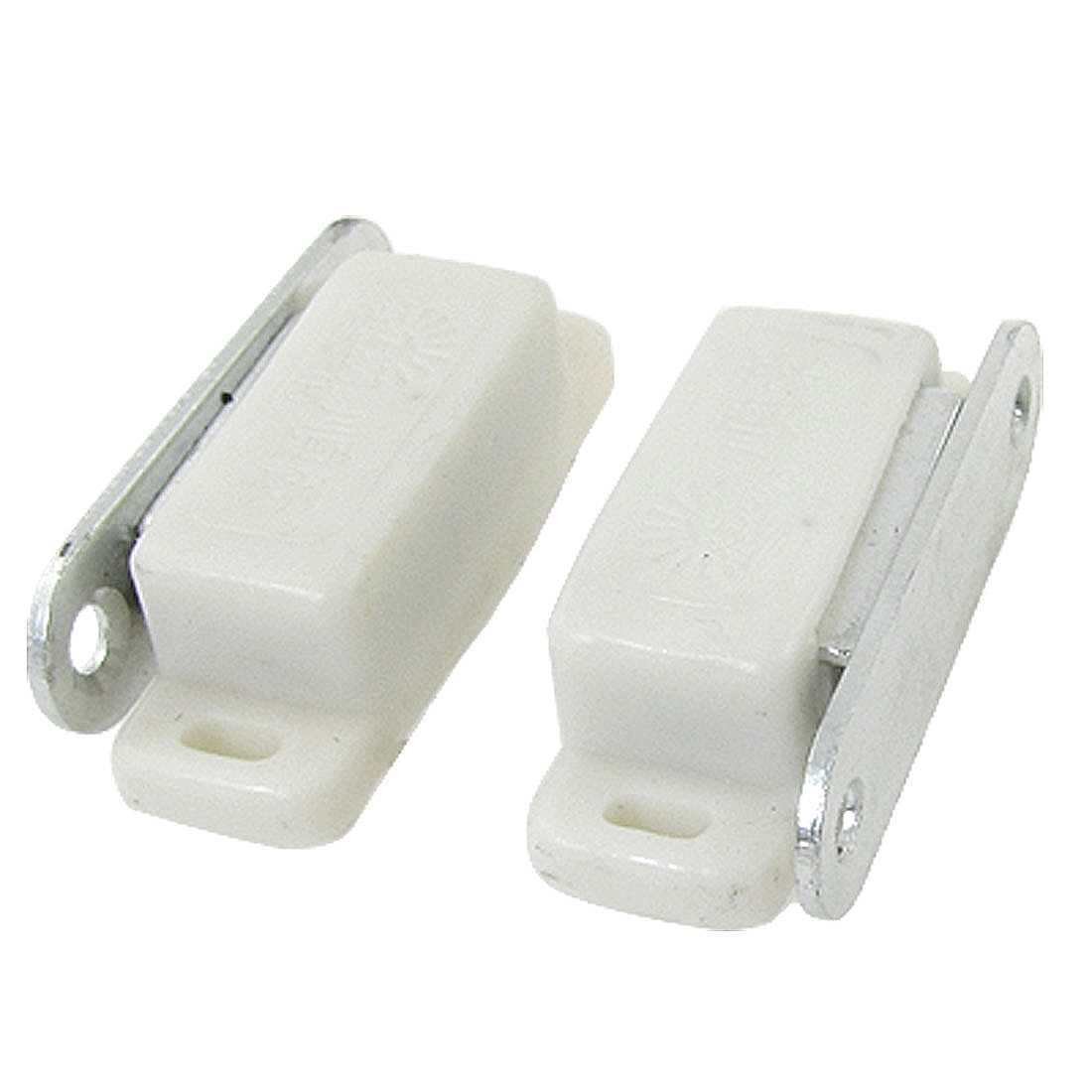 2 Pcs White Plastic Shell Metal Plate Cabinet Door Magnetic Catch Set 1.8""