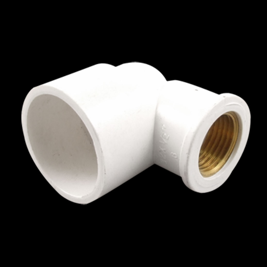 "White 32mm PVC Slip x 1/2"" Brass Thread Right Angle Female Elbow Pipe Coupling"