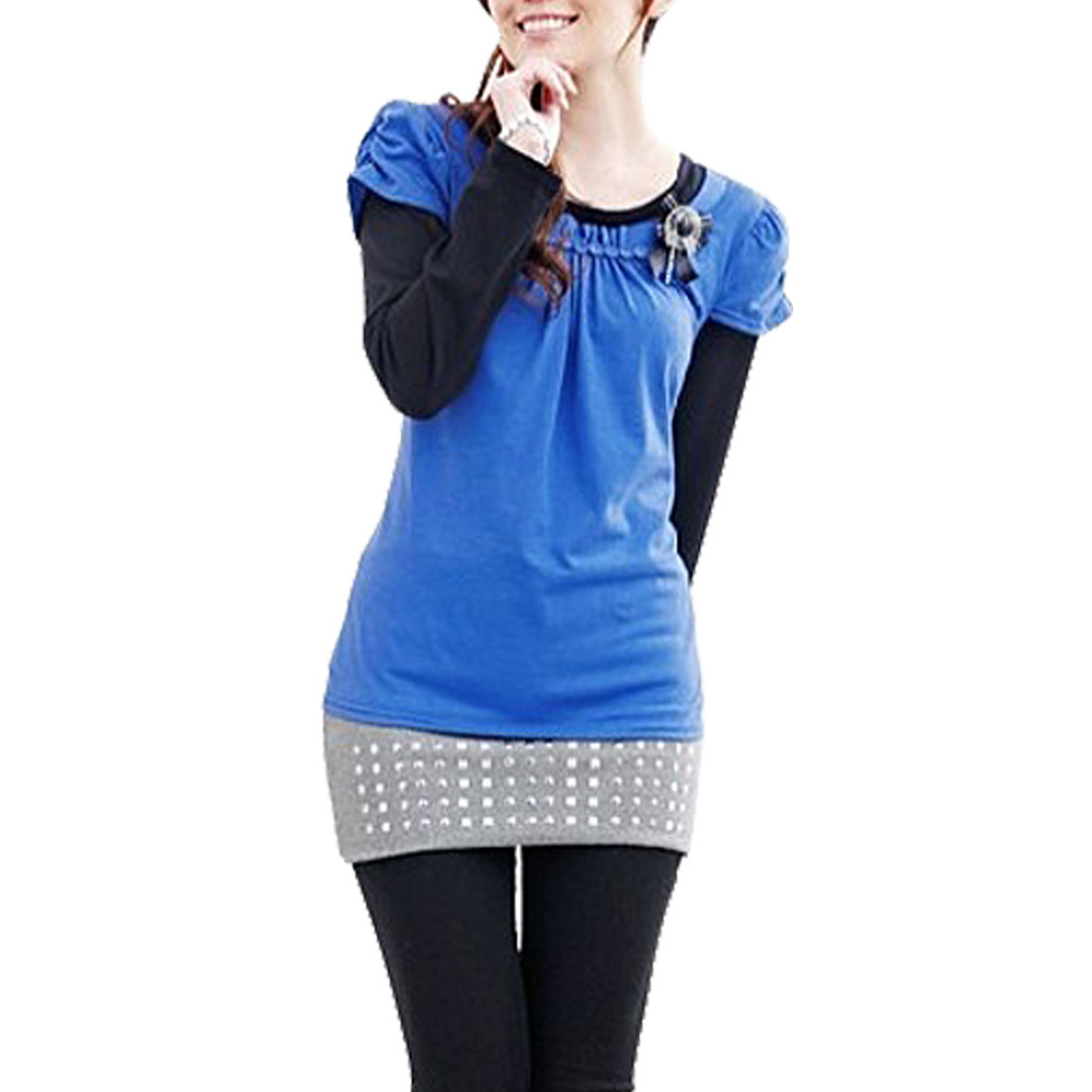 Autumn Blue Black Scoop Neck Layered Shirts Shirt XS for Women