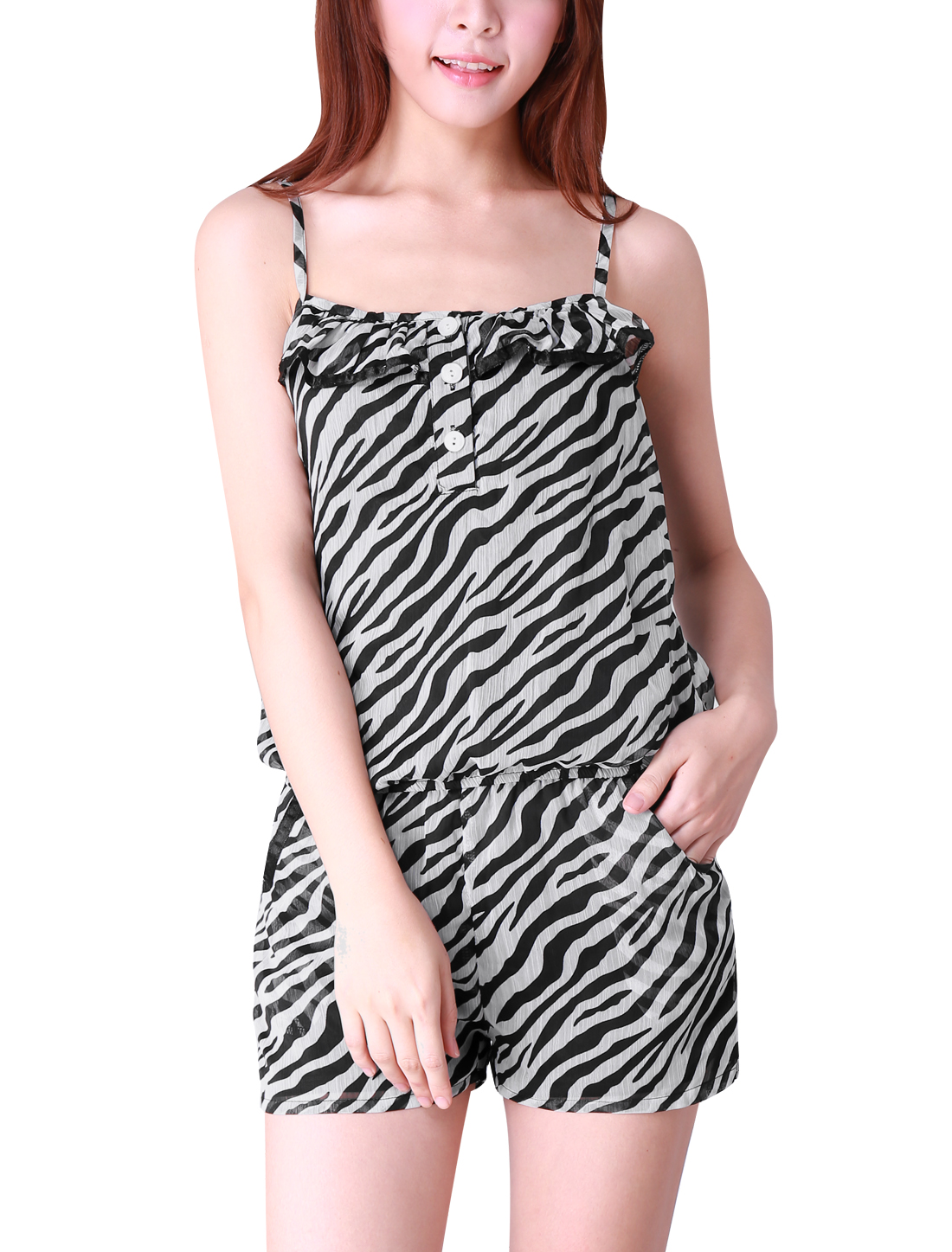 Button Closure Front Zebra Print Chiffon Romper Black White XS for Women