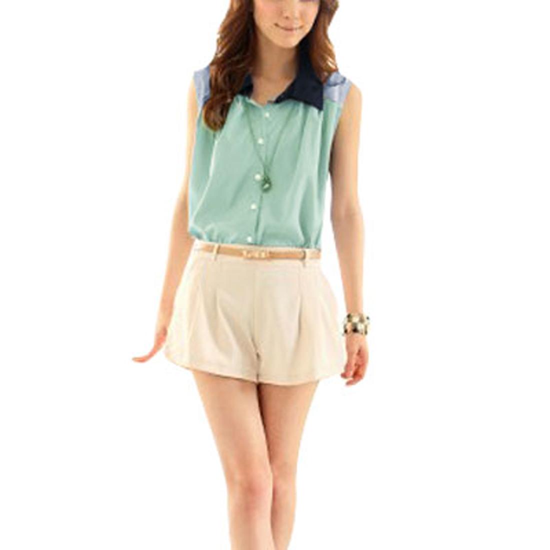Women Point Collar Single Breast Sleeveless Blouse Light Green Top XS
