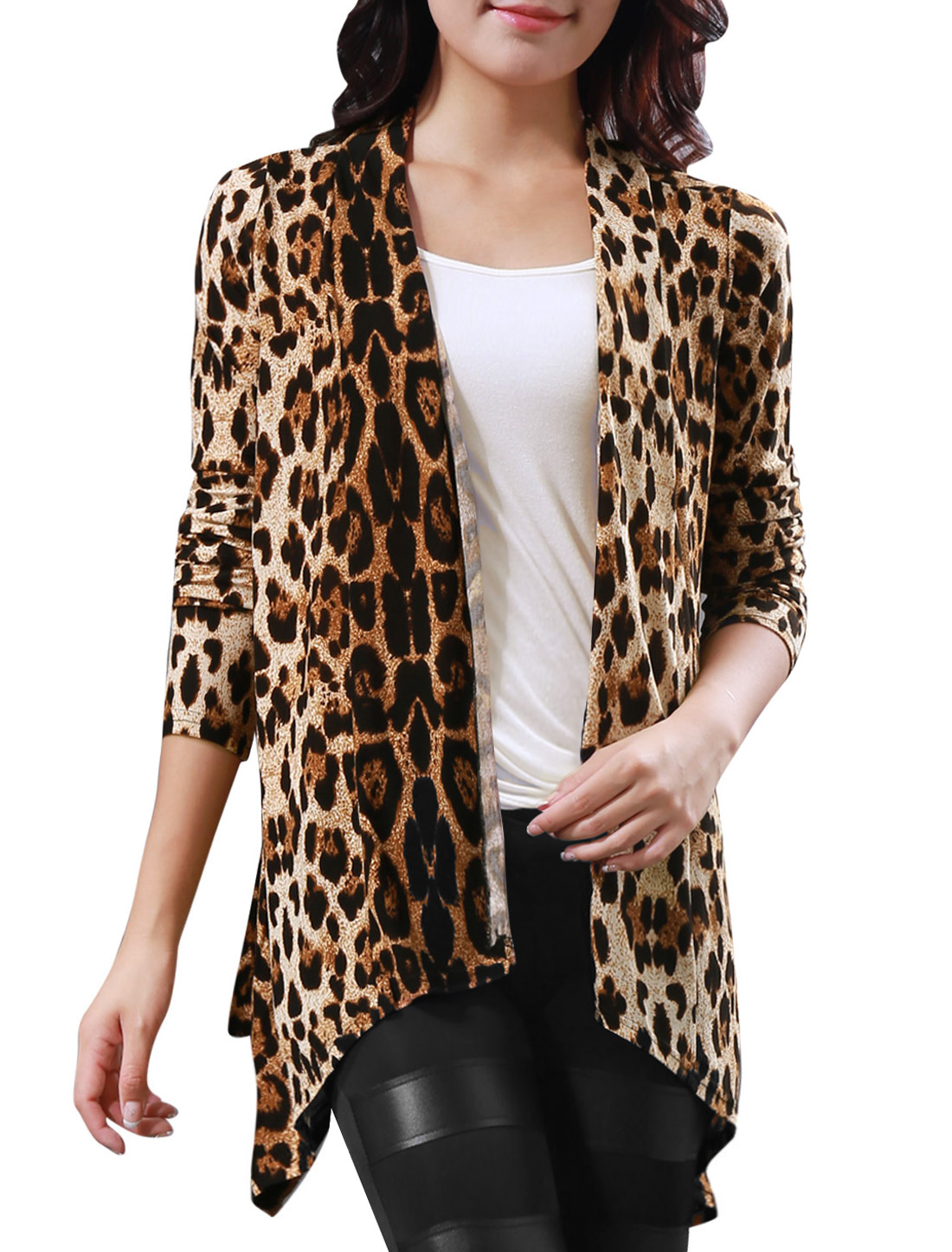 Women Leopard Pattern Front Opening Long Sleeve Autumn Coat Beige Coffee XS