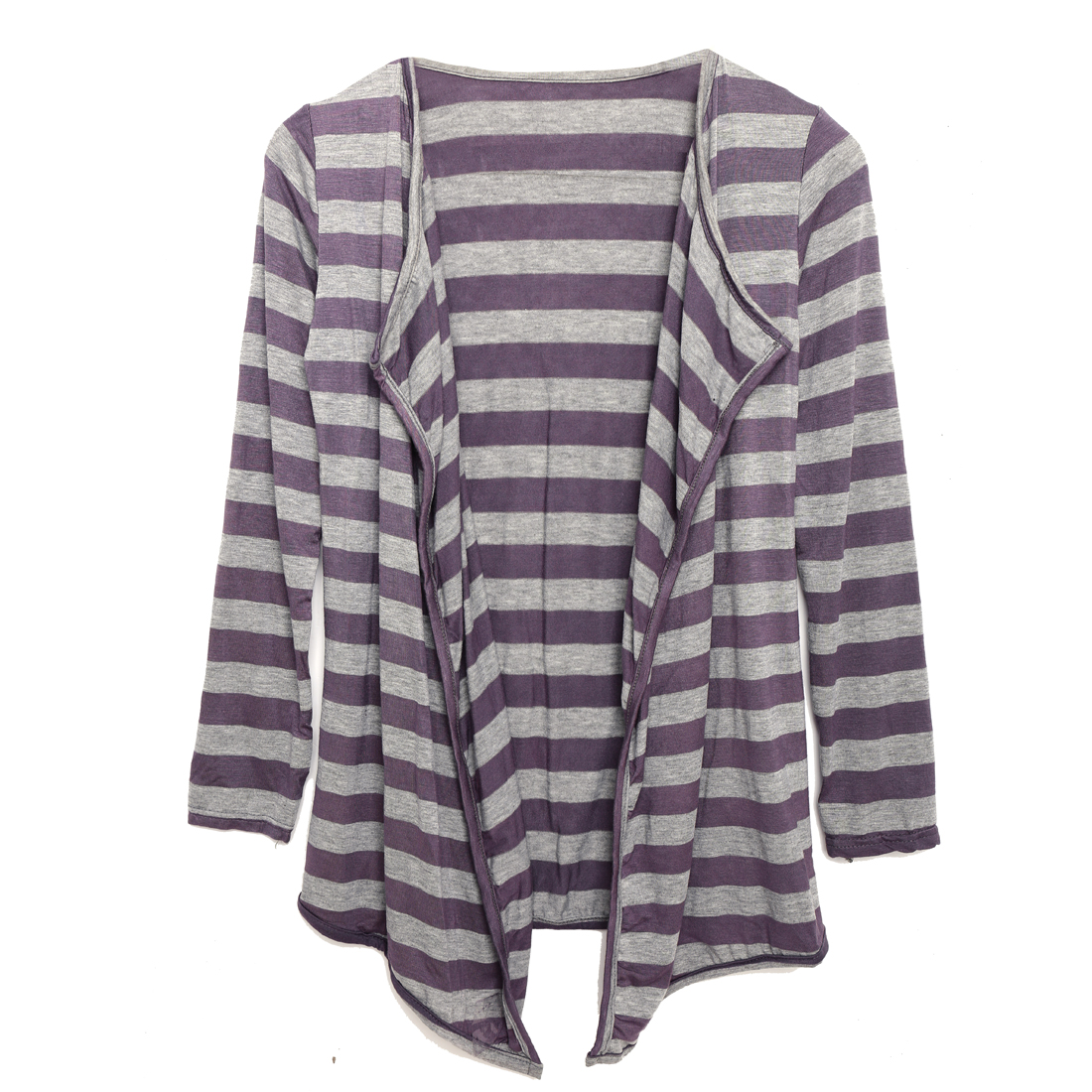 Peaked Lapel Purple Gray Bar Striped Autumn Coat XS for Women