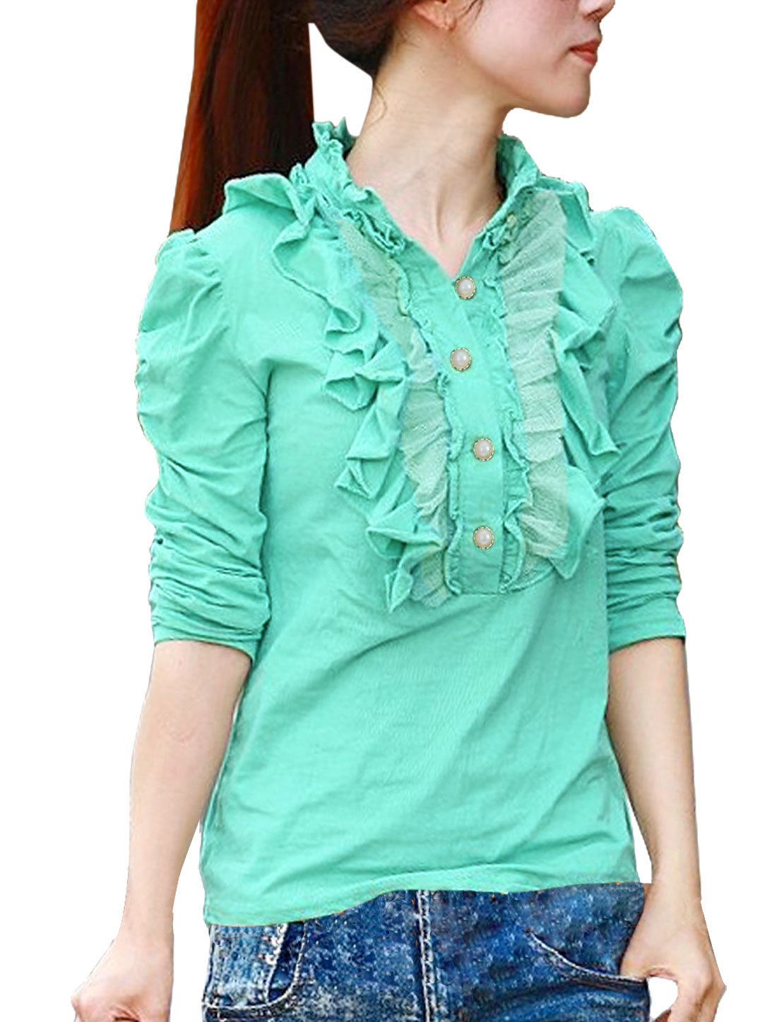 Green Half Placket Ruffled Front Long Sleeve Blouse XS for Women