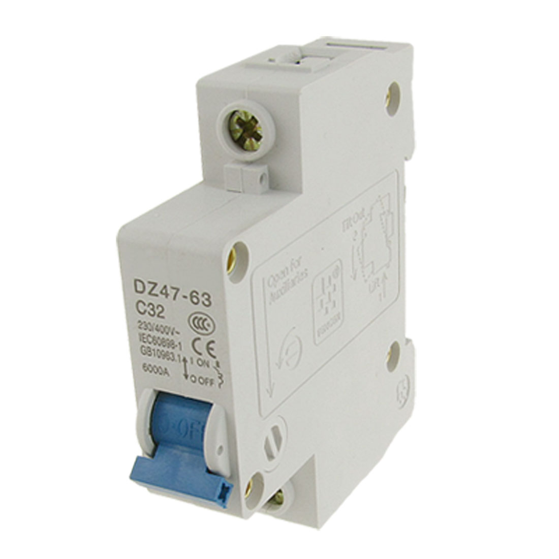 Single Pole 1P Overload Miniature Circuit Breaker AC 230V/400V 32A