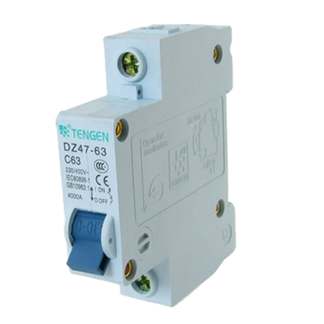 AC 230V/400V 63A Single Pole 1P Miniature Circuit Breaker