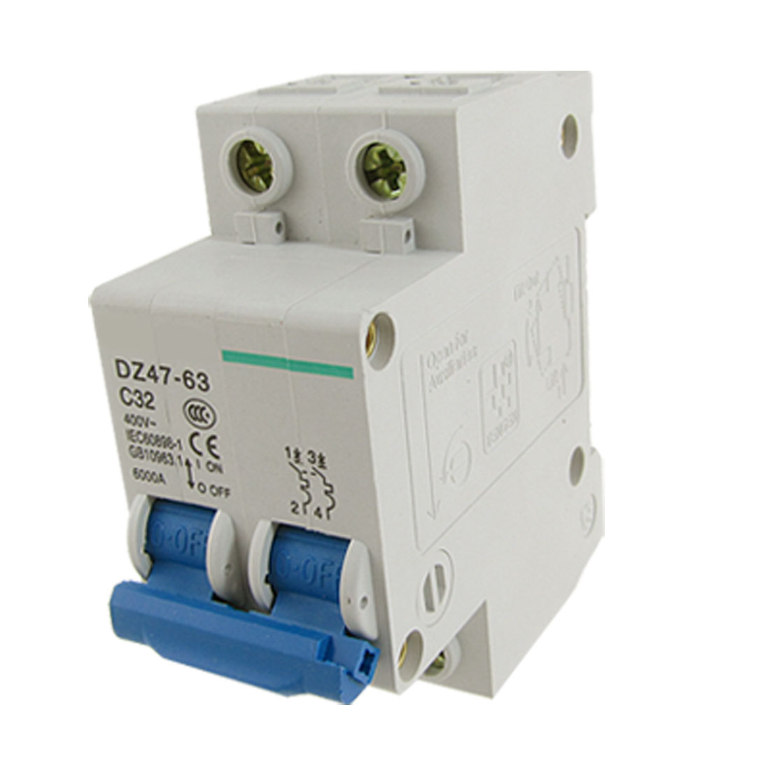 6000A Breaking Capacity 2P Miniature Circuit Breaker AC 400V 32A