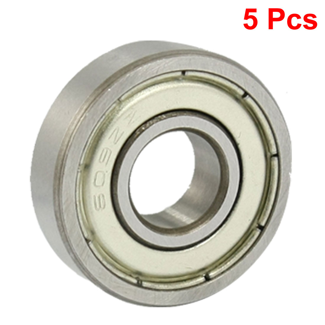 5 Pcs 609ZZ 9mm x 24mm x 7mm Double Shield Deep Groove Radial Ball Bearings