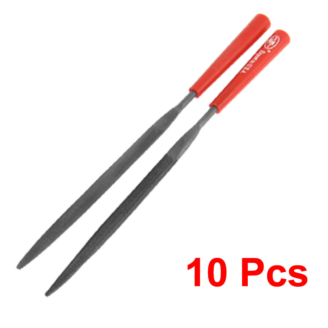 Red Handle 3 x 140mm Half Round Ring Needle Files 10 Pcs