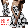 Women Sweetheart Neckline Strapless Floral Prints A Line Dress White XS