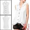 White Semi Sheer Single Breast Sleeveless Shirt XS for Women