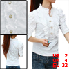 Women Ruffled Stand Collar Puff Long Sleeve Blouse White XS
