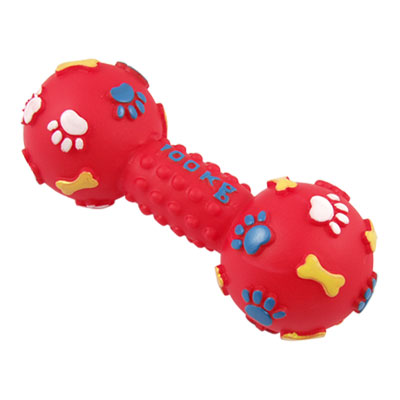 Paw Bone Pattern Textured Vinyl Pet Dog Sound Dumbbell Toy Red