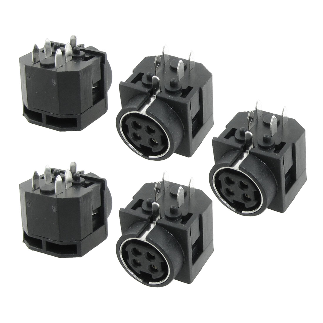 5 Pcs DC Female 4 Pin Mini DIN Power Jacks Sockets Yeptg
