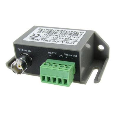 Grey Plastic Housing DC 12V Single Channel CCTV Via Video Balun Active UTP Transceiver