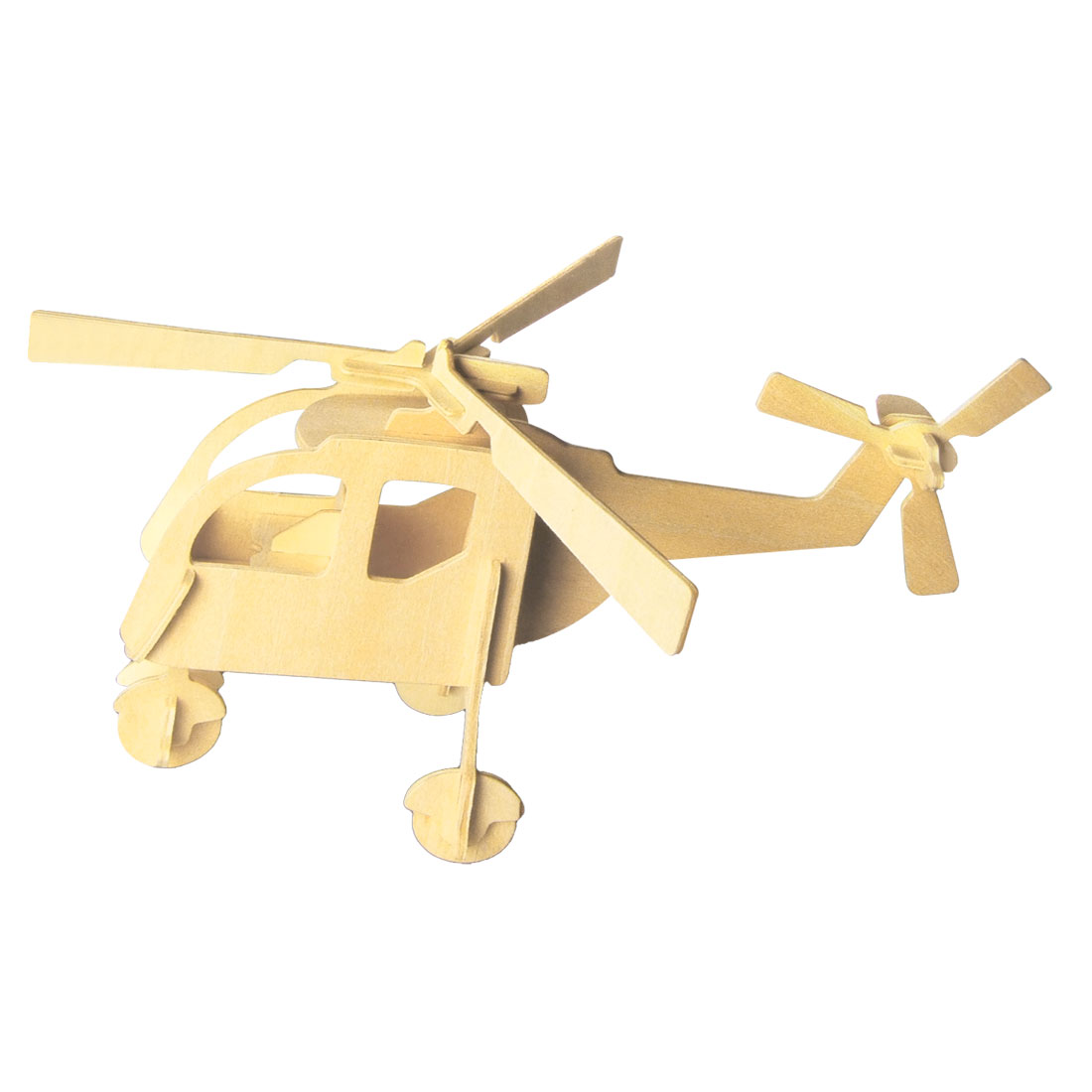 Child DIY Wooden 3D Helicopter Model Construction Kit Puzzle Toy