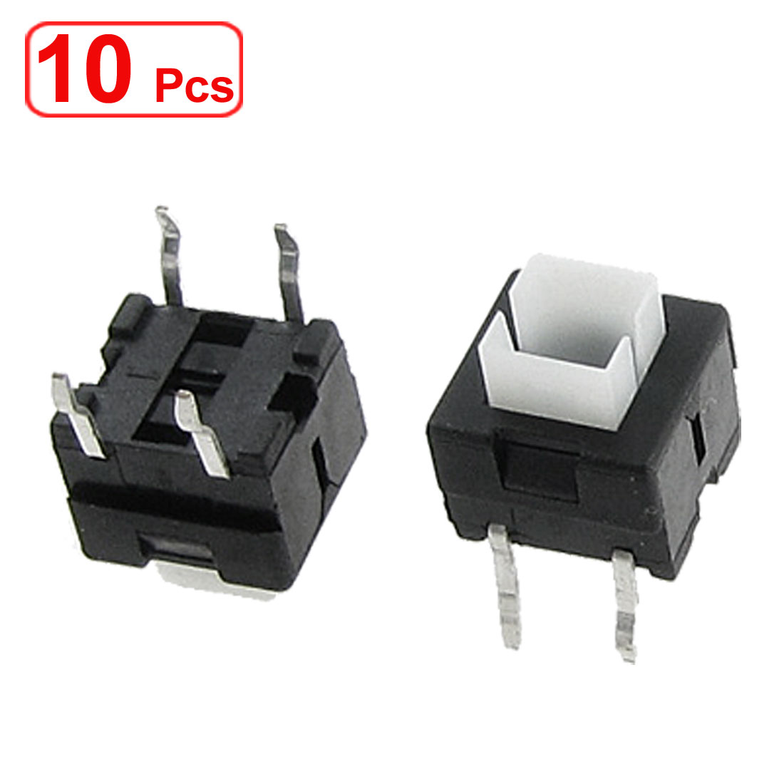10 Pcs Momentary Action 4 Pin Push Button Tact Switch 8mm x 8mm