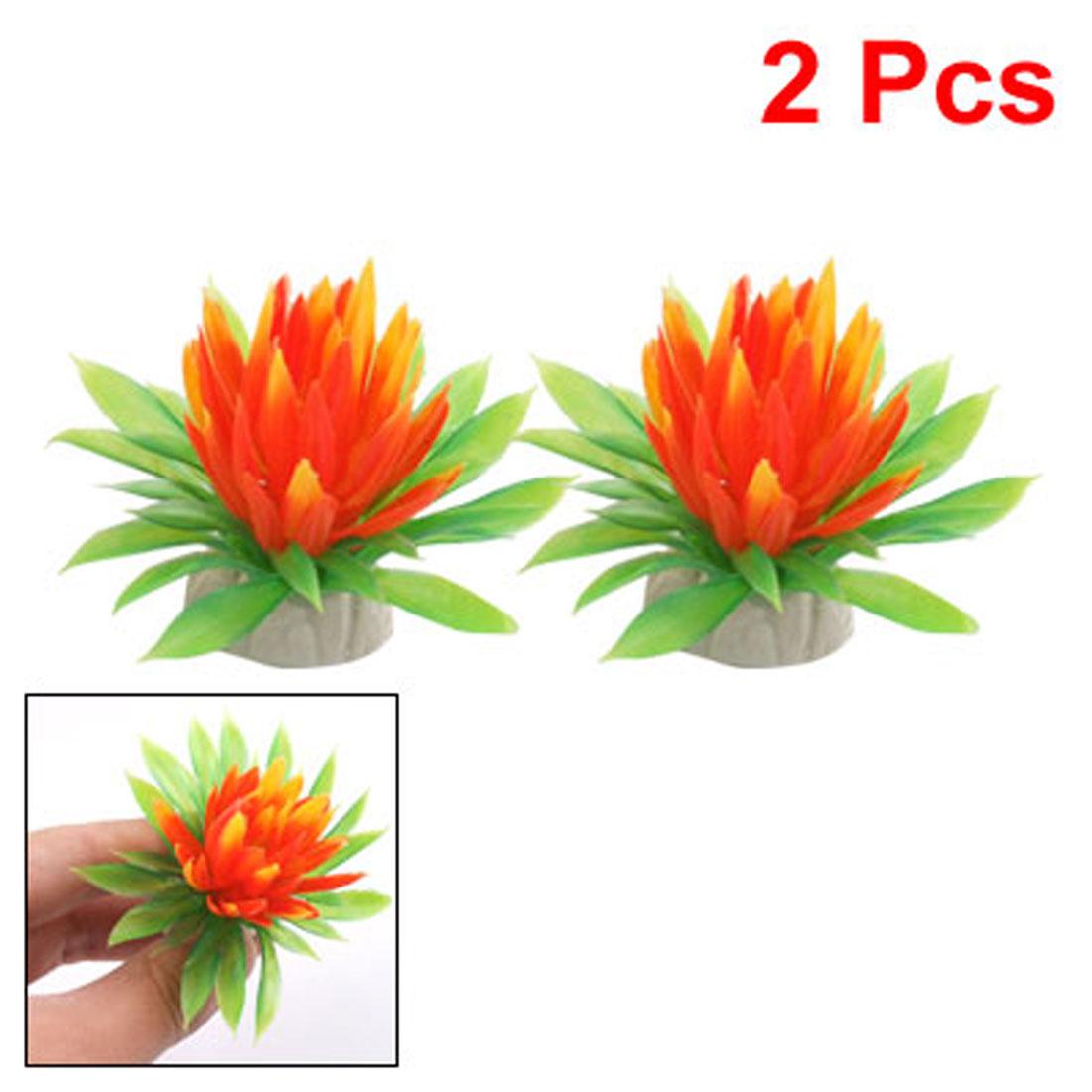 2 Pcs Plastic Green Leaf Orange Red Lotus Flower Decor for Aquarium Plant