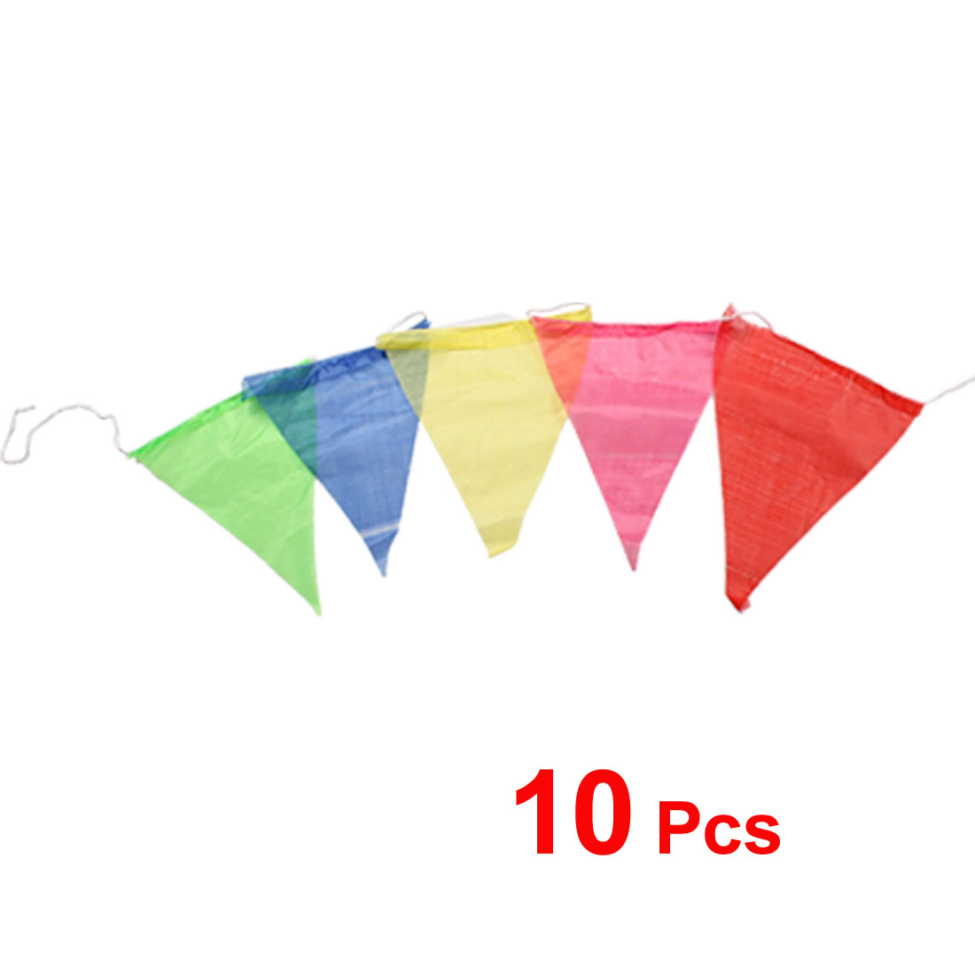 "10 Pcs 8.3"" x 6.8"" Multicolor Flag Pennant Rainbow Banner 4.5M String"