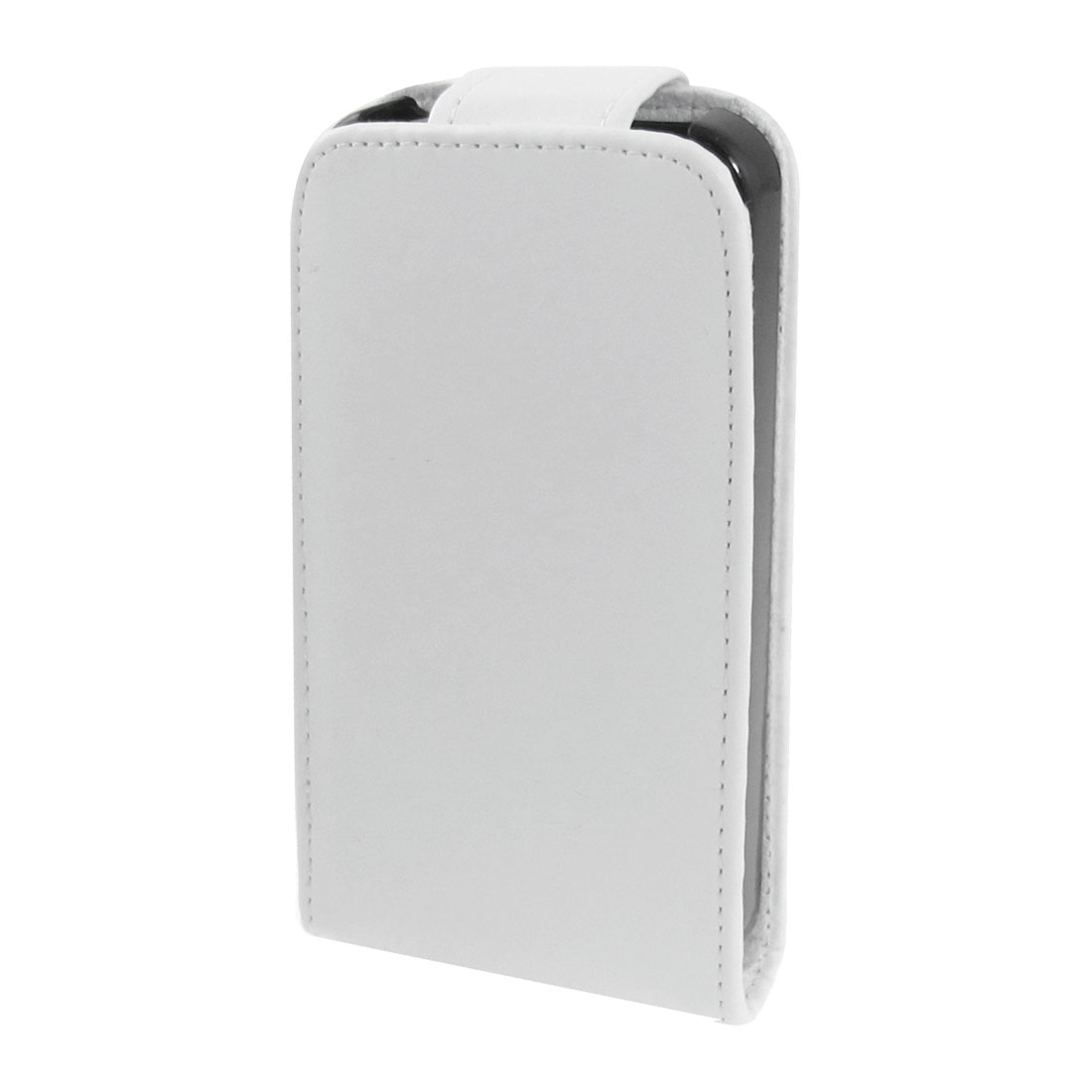 White Faux Leather Vertical Pouch Clip Holder for iPhone 4 4G