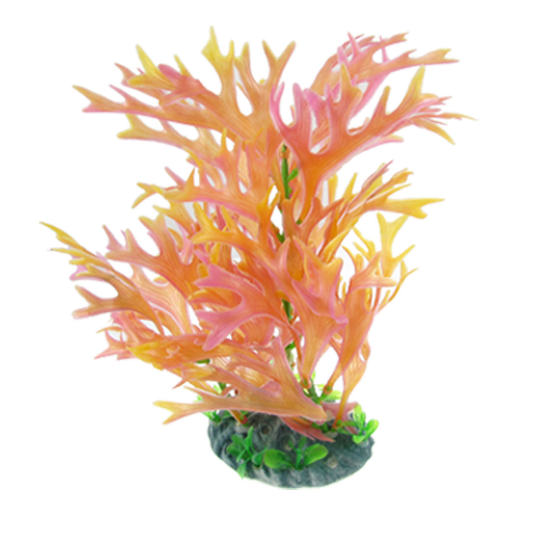 "9"" High Plastic Orange Pink Coral Plant Aquascaping for Fish Tank"