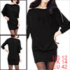 Ladies Black Long Dolman Sleeve Zipper Neck Loose Dress L