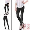 Ladies Elastic Waist Faux Leather Splicing Skinny Leggings Black M