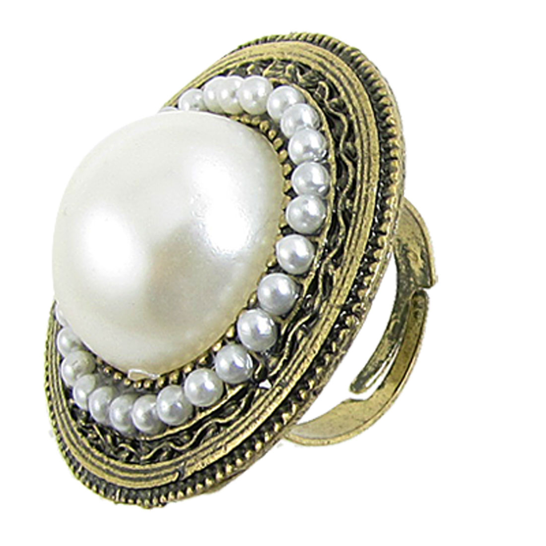 Women Round Faux Pearl Decor Finger Ring Bronze Tone White US 6 3/4