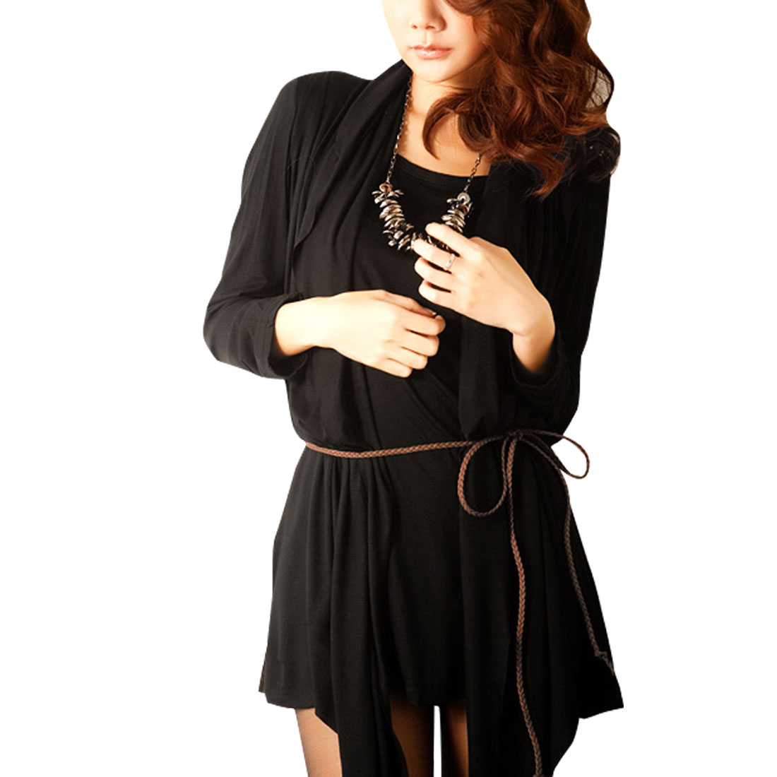 Woman Solid Black Long Sleeve Irregular Hem Cape Tunic Dress M