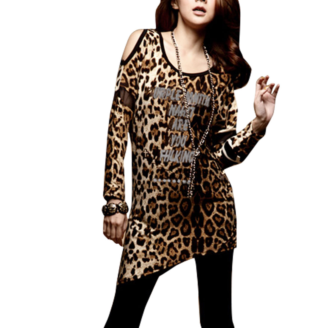 Woman Leopard Print Cutout Shoulder Scoop Neck Shirt Top XS