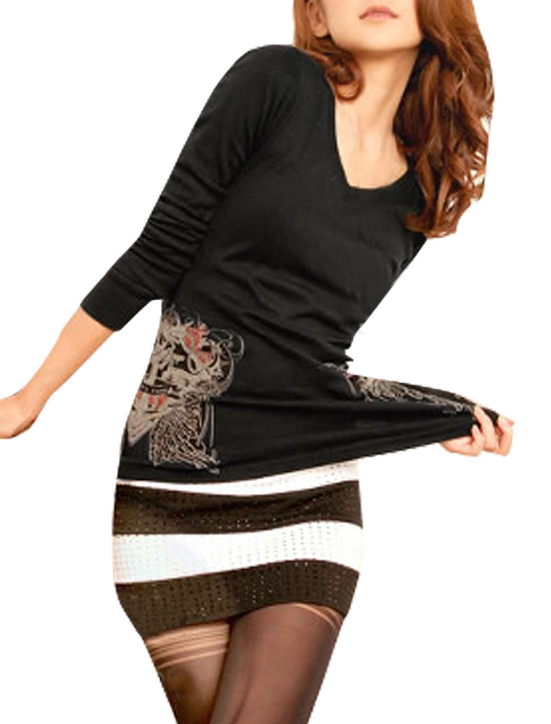 Ladies Rhinestud Anchor Print V Neck Pullover Shirt Top Black XS