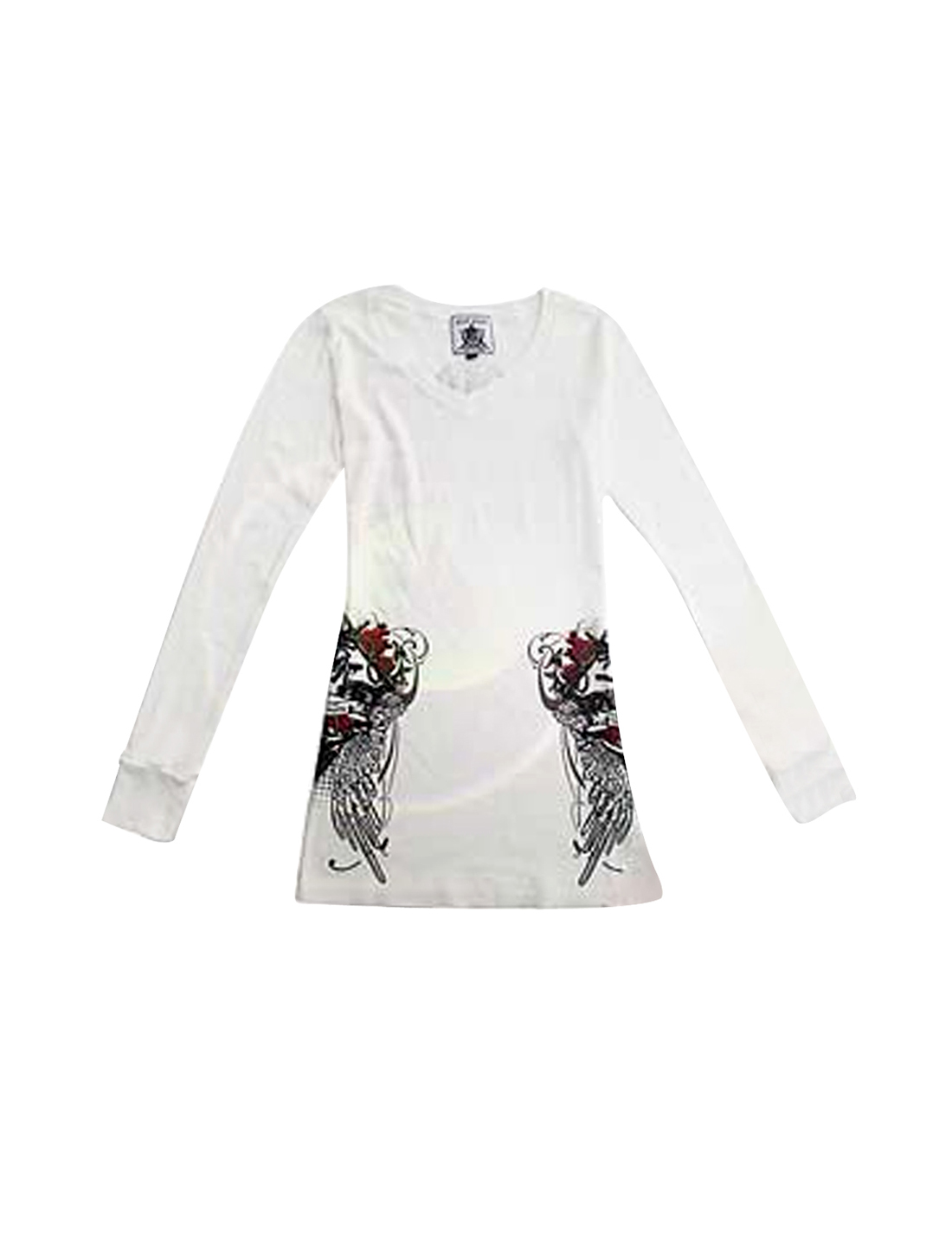 Woman V Neck Rhinestud Anchor Print Long Sleeve Shirt Top White XS