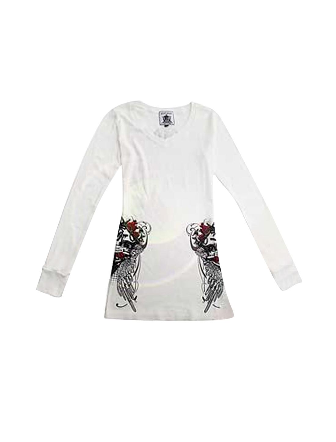 Woman V Neck Rhinestud Anchor Print Long Sleeve Shirt Top White XS