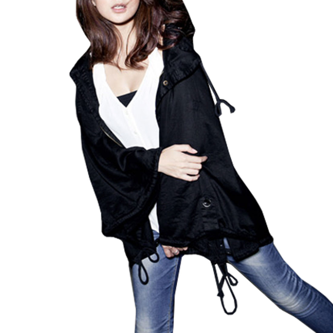Woman Dark Blue Drawstring Waist Hooded Zippered Cloak Coat M