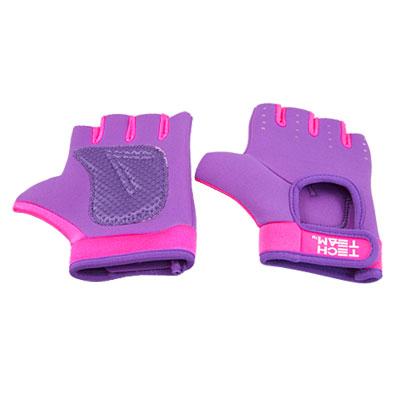 Woman Pair Fuchsia Purple Neoprene Half Finger Sports Gloves