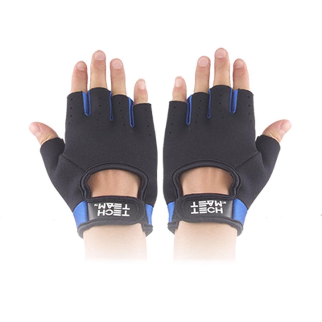 Ladies Hook Loop Fastener Black Blue Neoprene Driving Sport Gloves