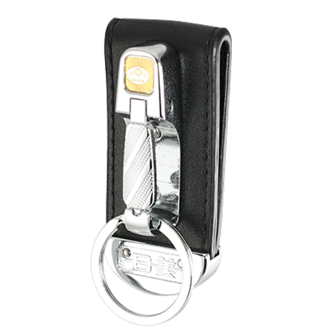 Wide Black Belt Loop Split Ring Metal Keychain Key Holder