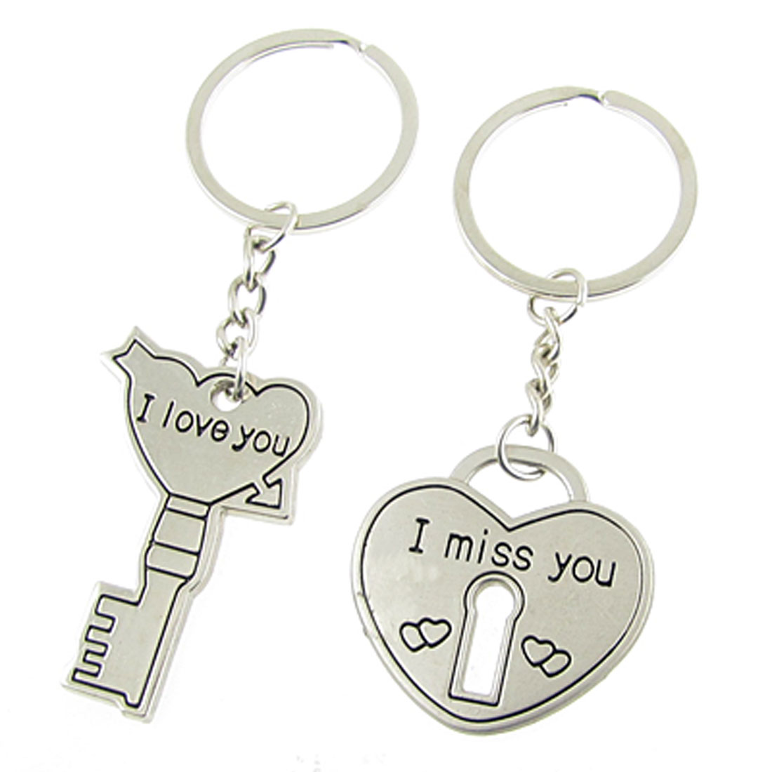 Lovers Heart Key Shaped Pendant Metal Flat Split Key Rings 2 Pcs