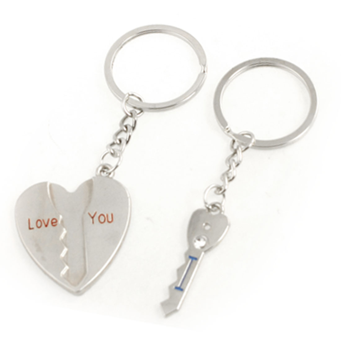 Couple Valentine Gift Heart Key Pendant Metal Keychain Pair