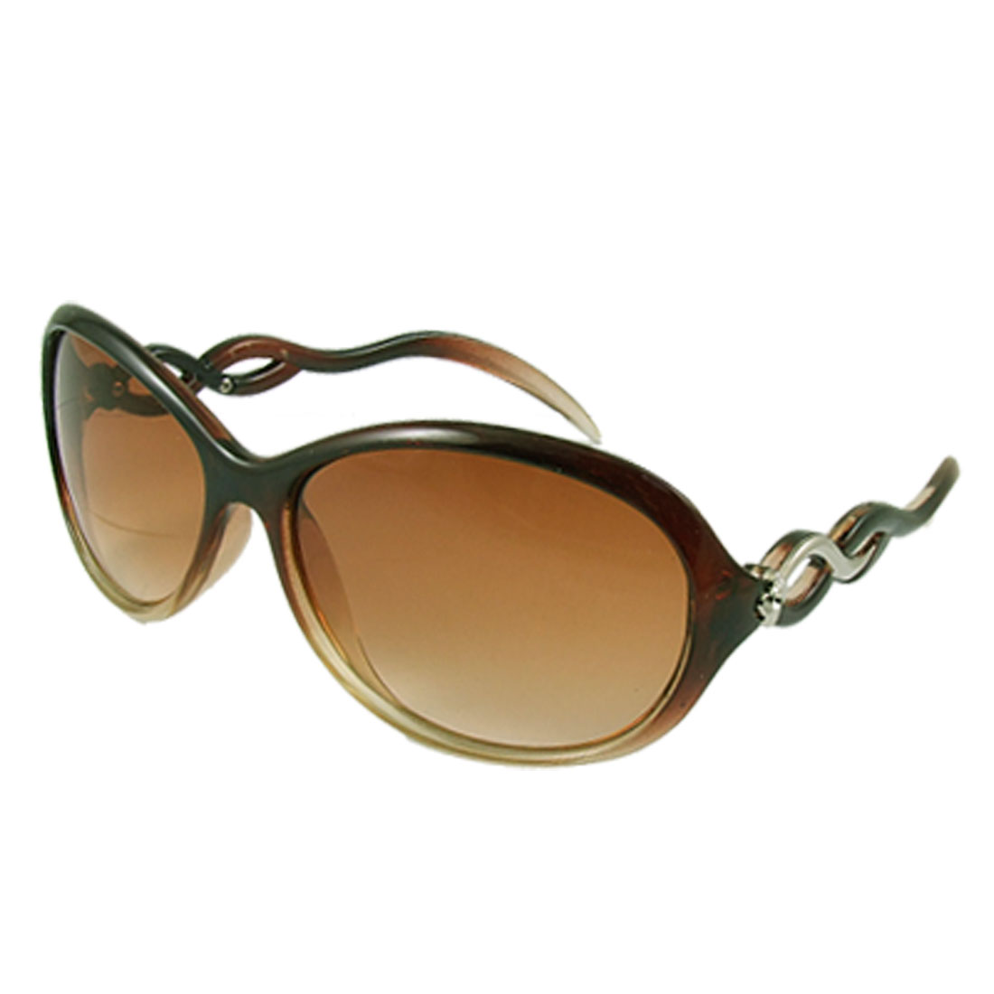 Lady Women Full Frame Plastic Arms Clear Brown Oversized Lens Sunglasses