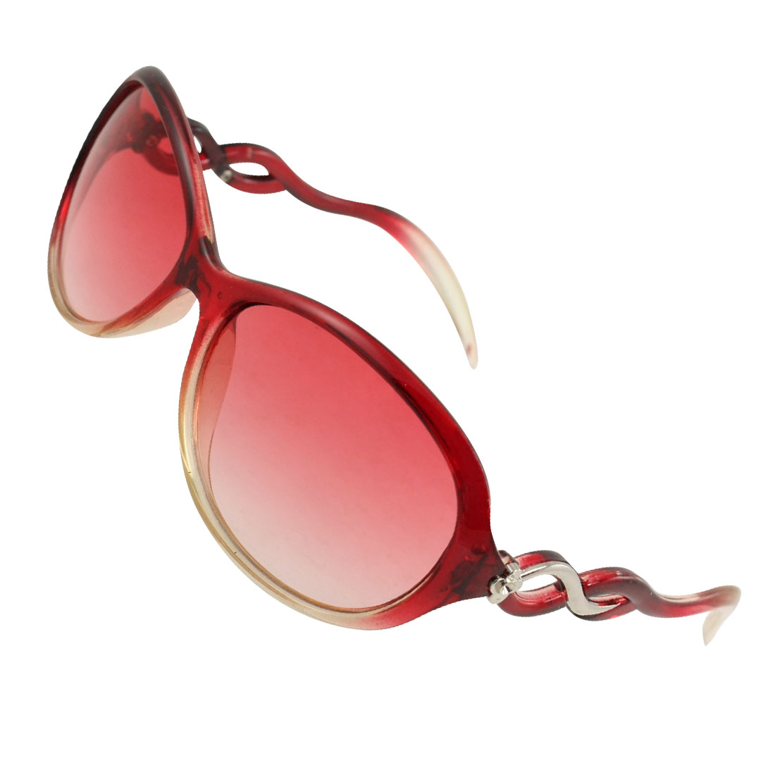 Women Silver Tone Flower Accent Plastic Wave Arms Clear Red Lens Sunglasses
