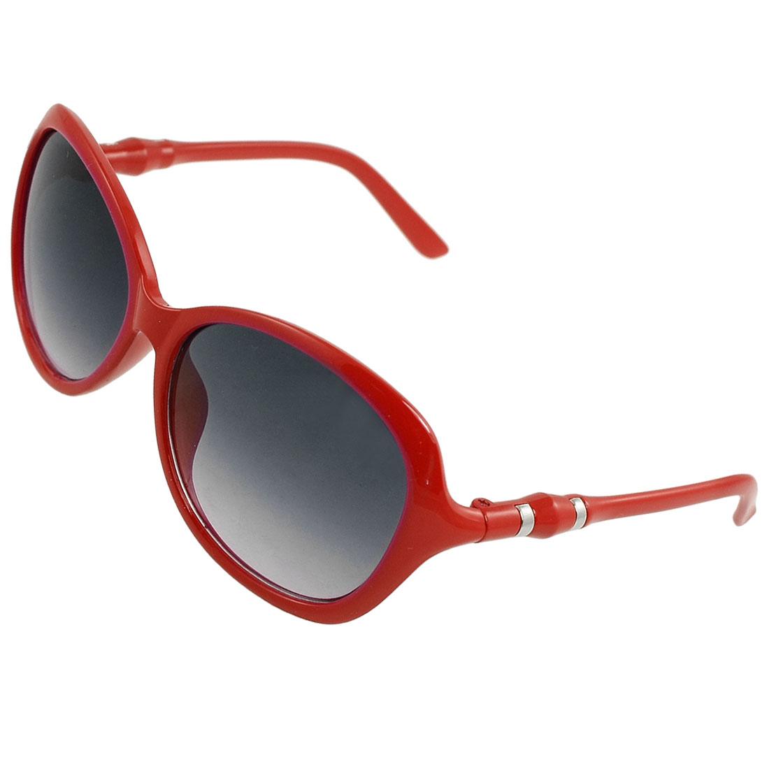 Woman Silver Tone Bar Accent Temples Crimson Plastic Arms Sunglasses