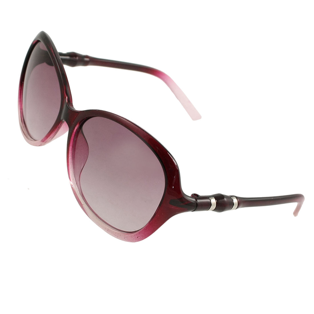 Lady Burgundy Clear Full Frame Round Temples Gradient Tinted Lens Sunglasses