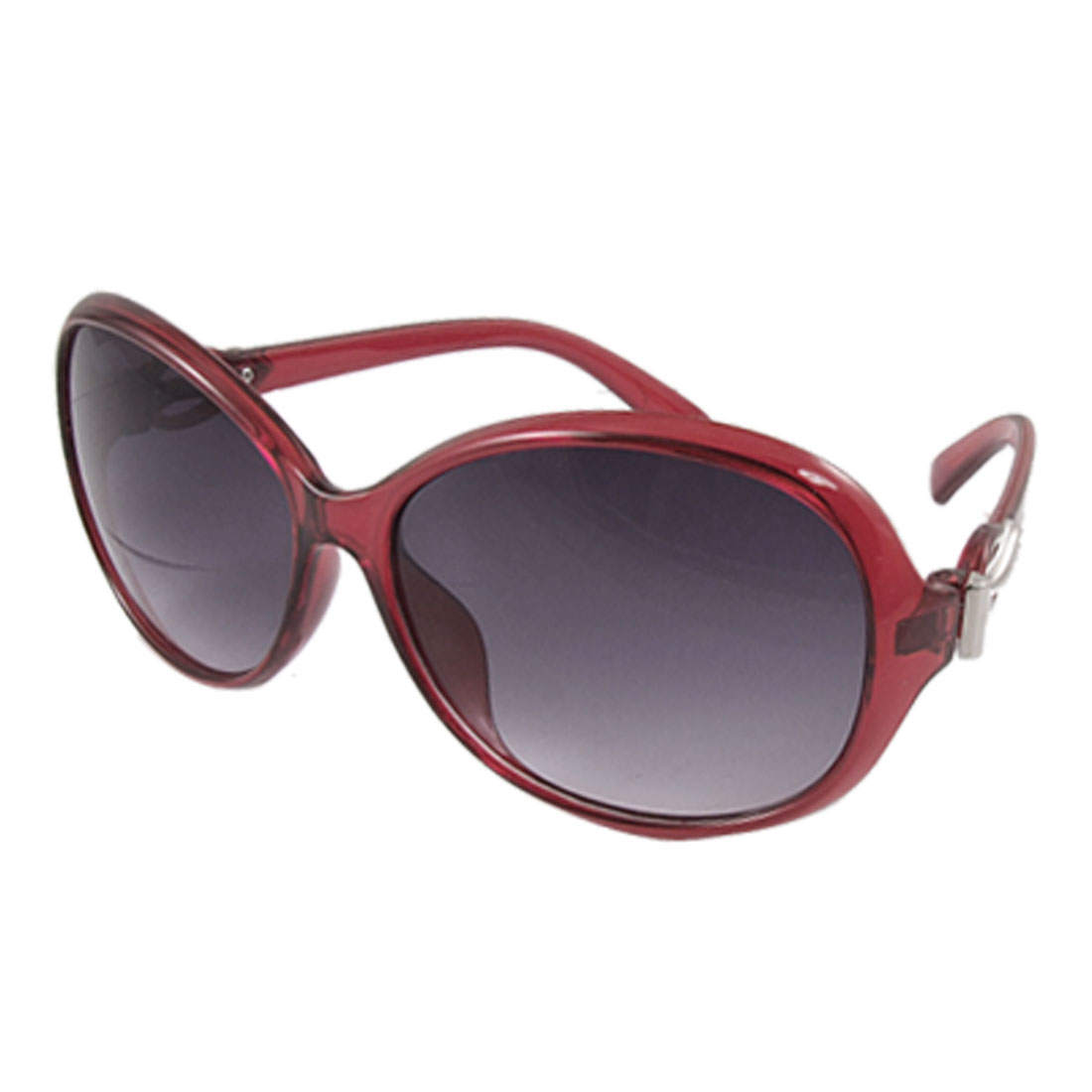 Women Silver Tone Metal Detail Red Plastic Arm Oversized Sunglasses